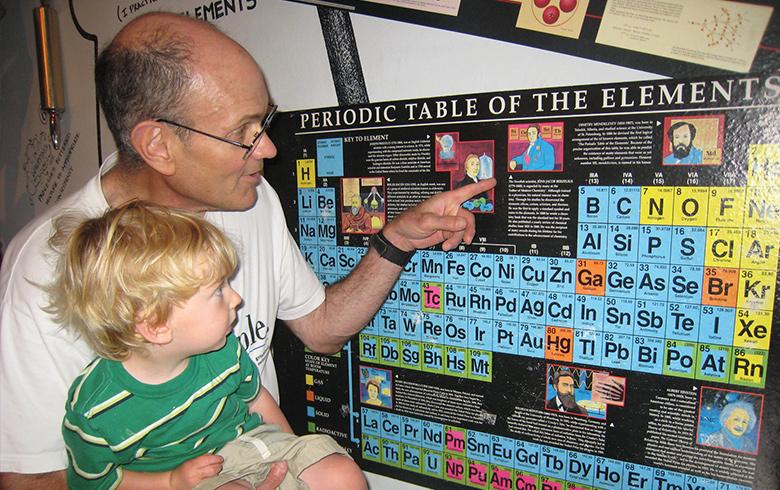 Dan Harris explains the periodic table to his toddler grandson.