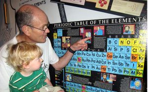 Dan Harris shows his grandson the periodic table