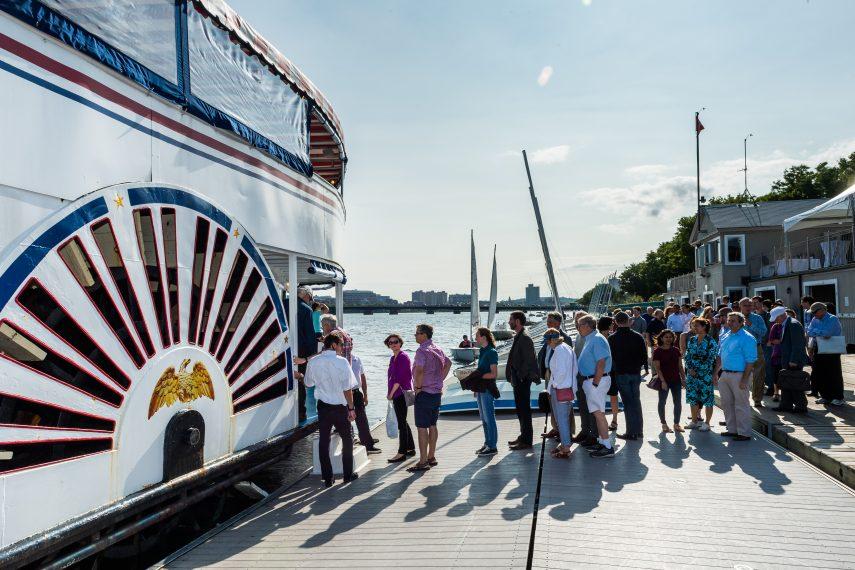 Chemistry Alumni board a riverboat