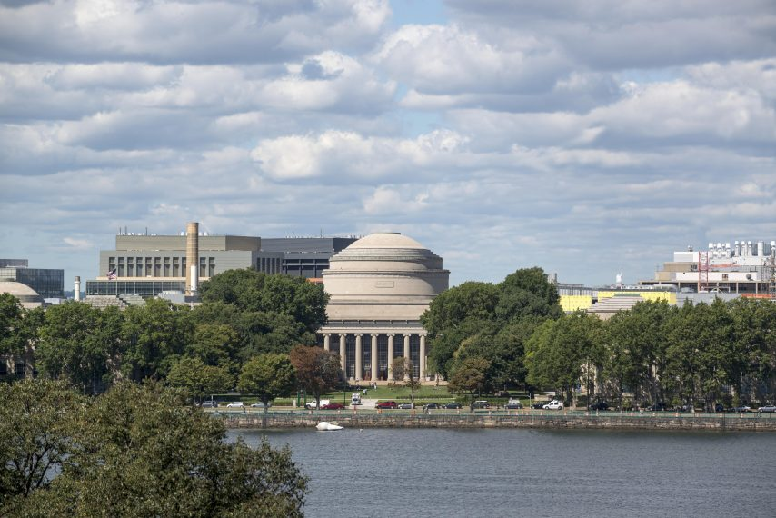 The MIT dome with the Charles River seen running in front of it.