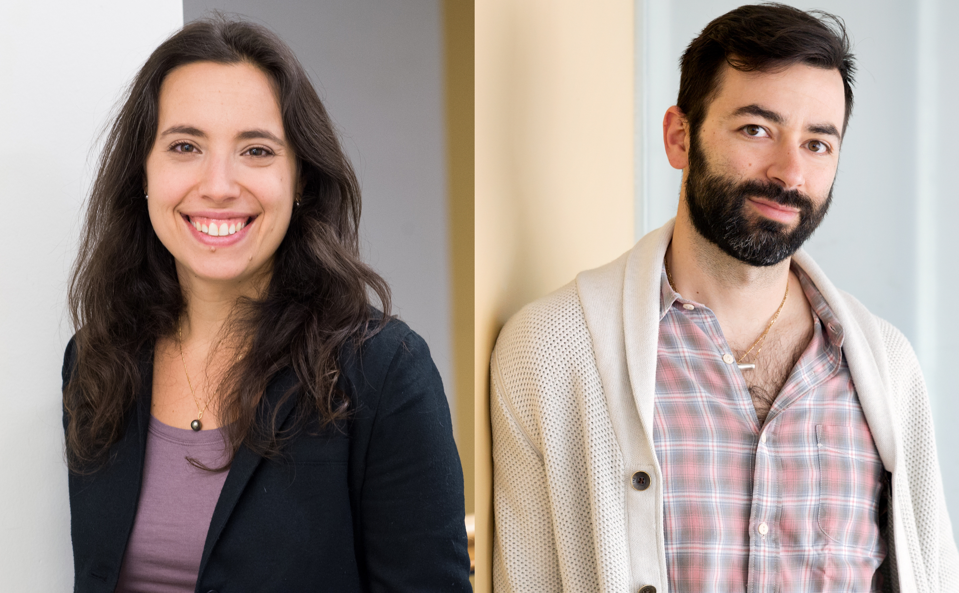 Professor Gabriela Schlau Cohen and Professor Alex Shalek smile in a hallway.