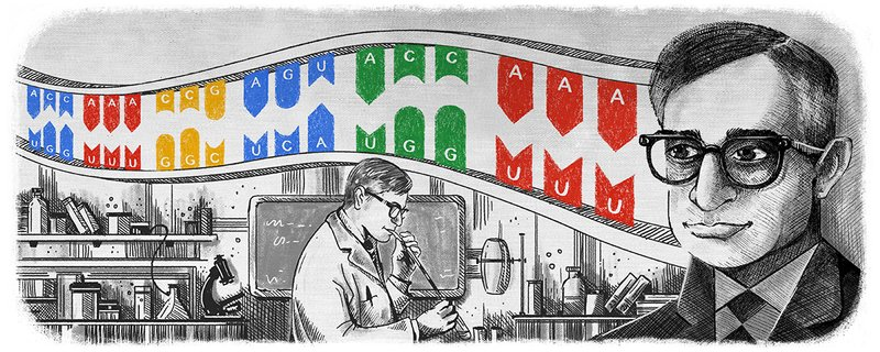 Google Doodle Header featuring MIT Faculty Har Gobind Khorana