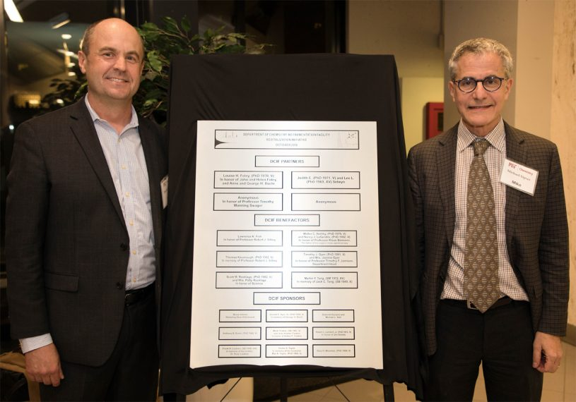 L-R: Professor Tim Jamison and Dean Mike Sipser unveil the plaque