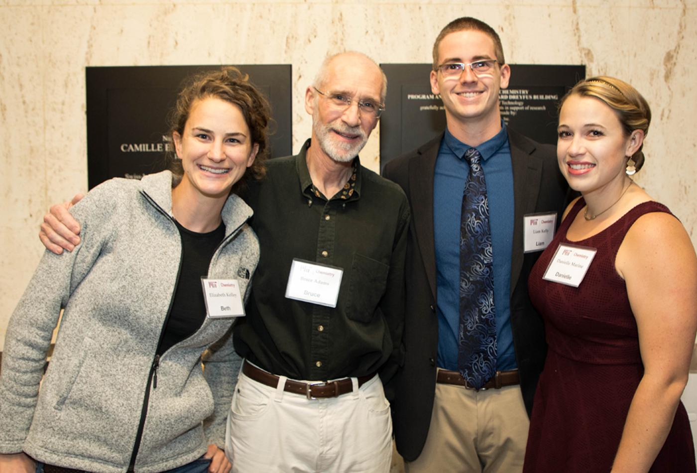 L-R: Elizabeth(Beth) Kelley, (PhD 2017, V), Dr. Bruce Adams, Liam Kelly; grad student, Liam's wife, Danielle Marine