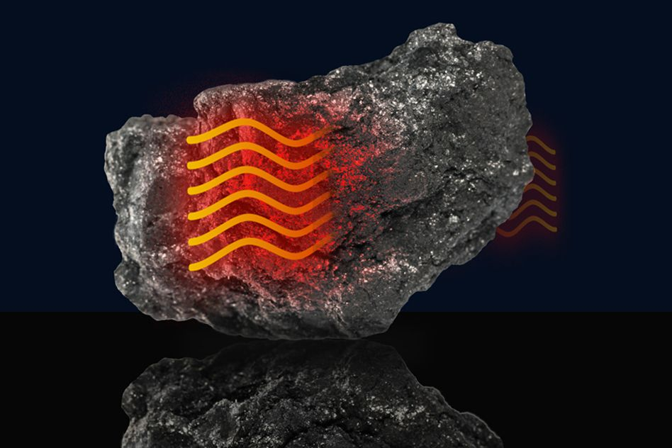 Fiery orange wavy lines are shown over a chunk of graphite to demonstrate heat moving through.