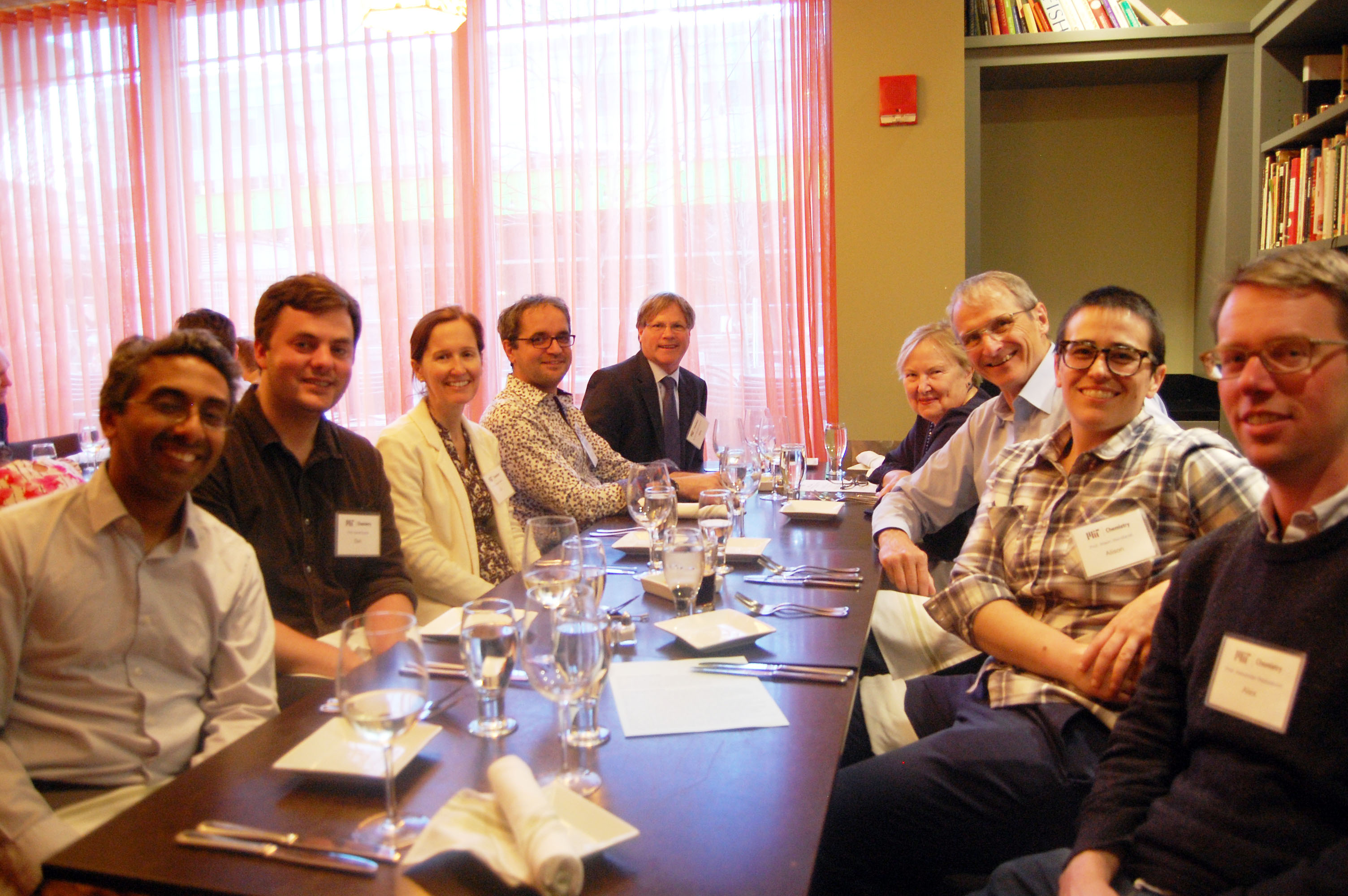 L-R (clockwise) seated at dinner: Professors Yogesh Surendranath, Daniel Suess, Elizabeth Nolan, Mircea Dinca, Michael Gallagher, PhD '84, Nancy Schrock, Prof. Emeritus Richard Schrock, Professors Alison Wendlandt and Alexander Radosevich