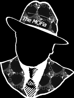 "An outline of an old time mafia boss whose hat says ""The MOFia"" and whose suit is patterned with metal-organic frameworks (MOFs)."