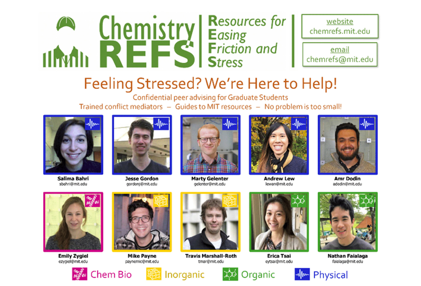 A graphic depicts the members of Chem REFs and their contact informaton, as well as the group's logo, email address, and website.