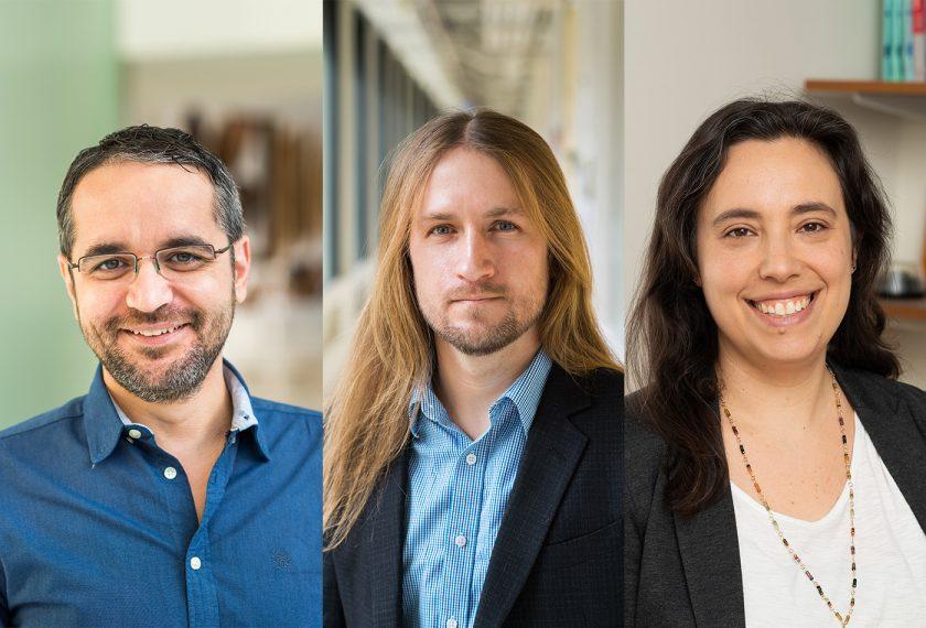 Image of professors Dincă, Johnson, and Schlau-Cohen
