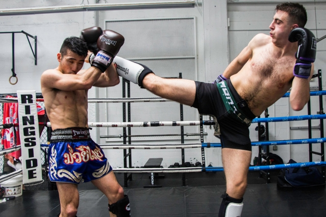 Levi Knippel in the kickboxing ring.