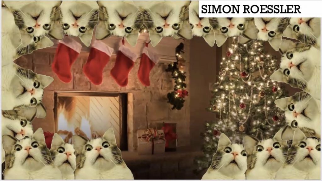 A zoom background featuring multiple horrified cats and a cozy Christmas living room.