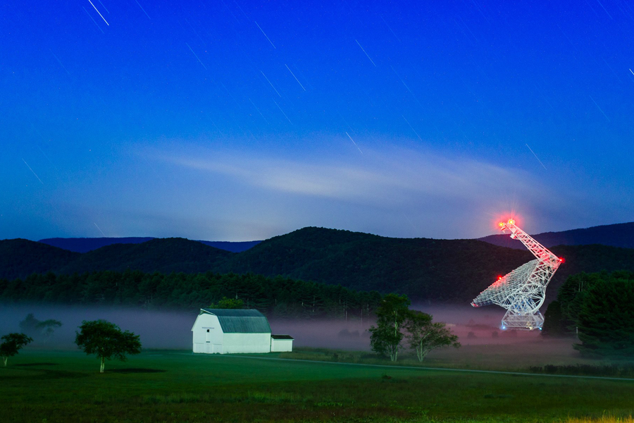 An image of a farm and satellites.
