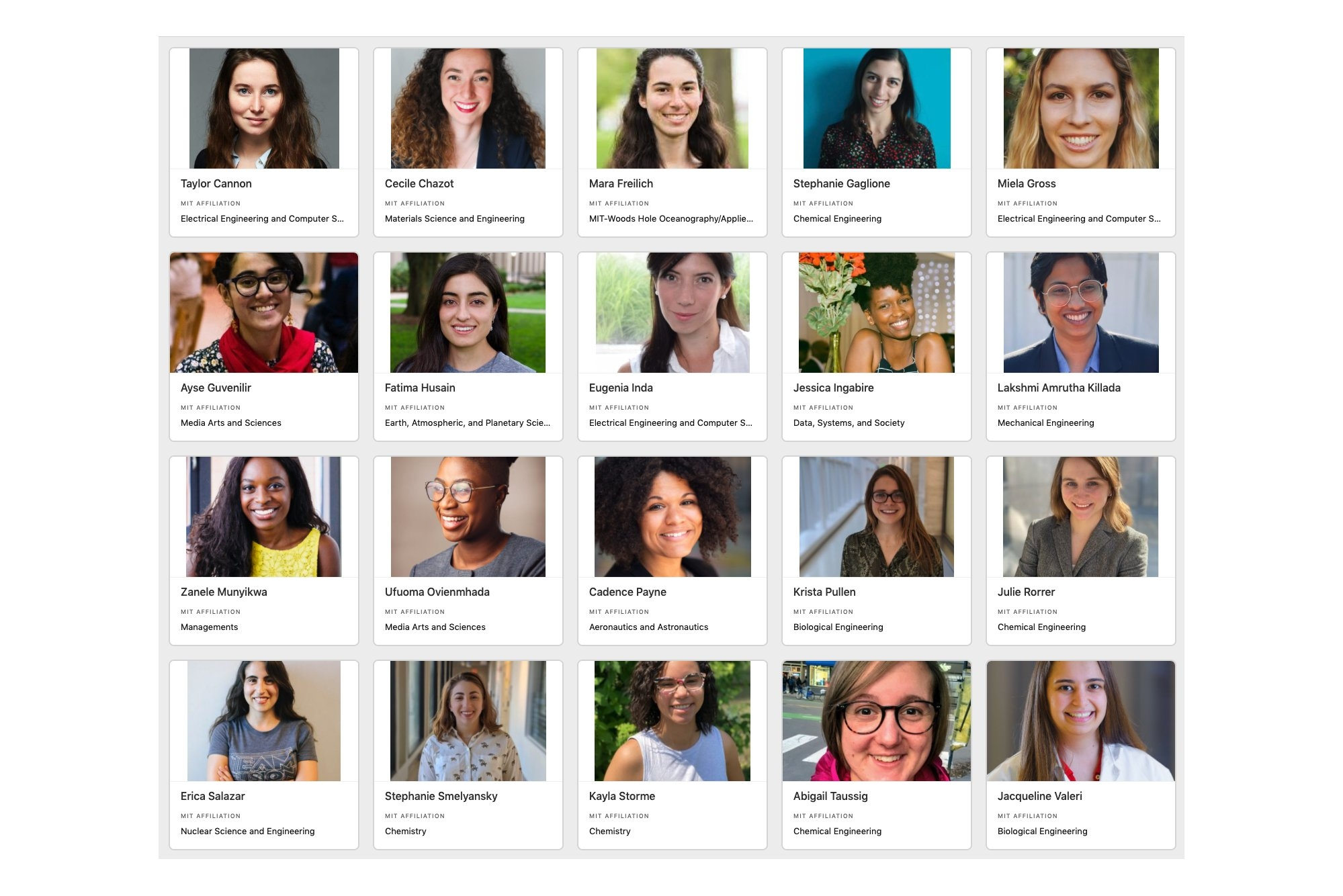 Rows of headshots of graduate students