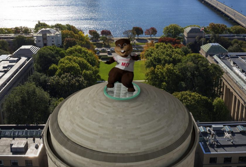 Tim the MIT beaver mascot dances atop the MIT dome.