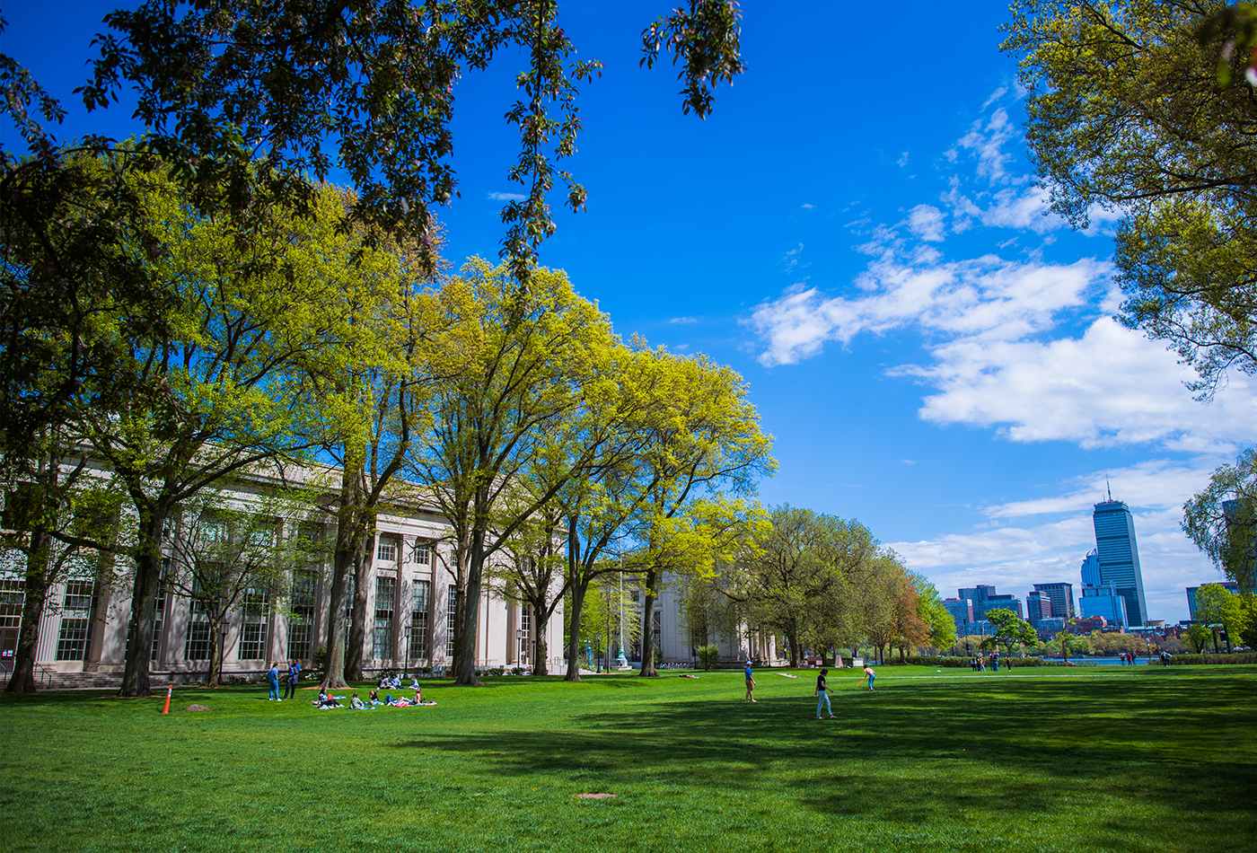 A photo of the MIT Campus at springtime.